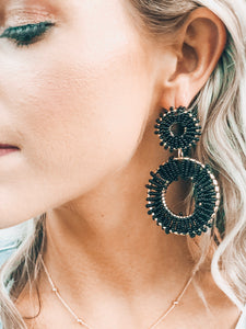 Black Double Round Earrings