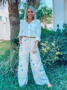 Ivory Serena Tropical Wide Leg Pants
