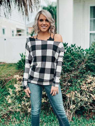 Off Shoulder Long Sleeve Black & White Checkered