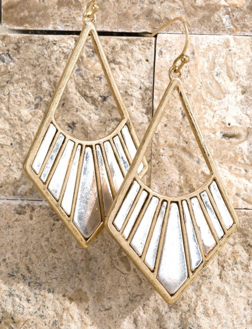 Gold/Silver Two Tone Dangle Earrings