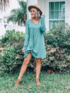 Long Sleeve Light Green Dress W/ Side Knot Detail