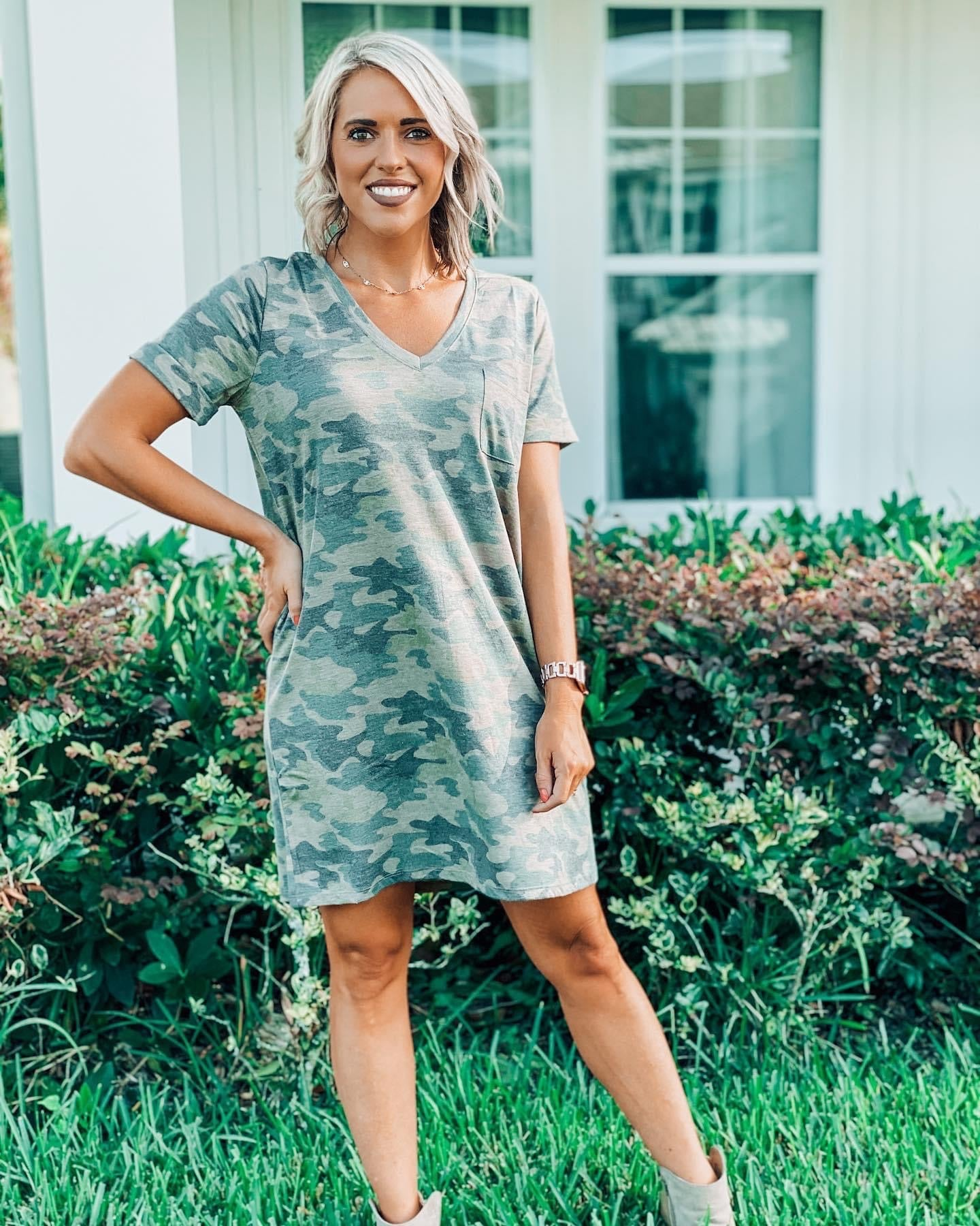 Camo Pocket Tee Shirt Dress