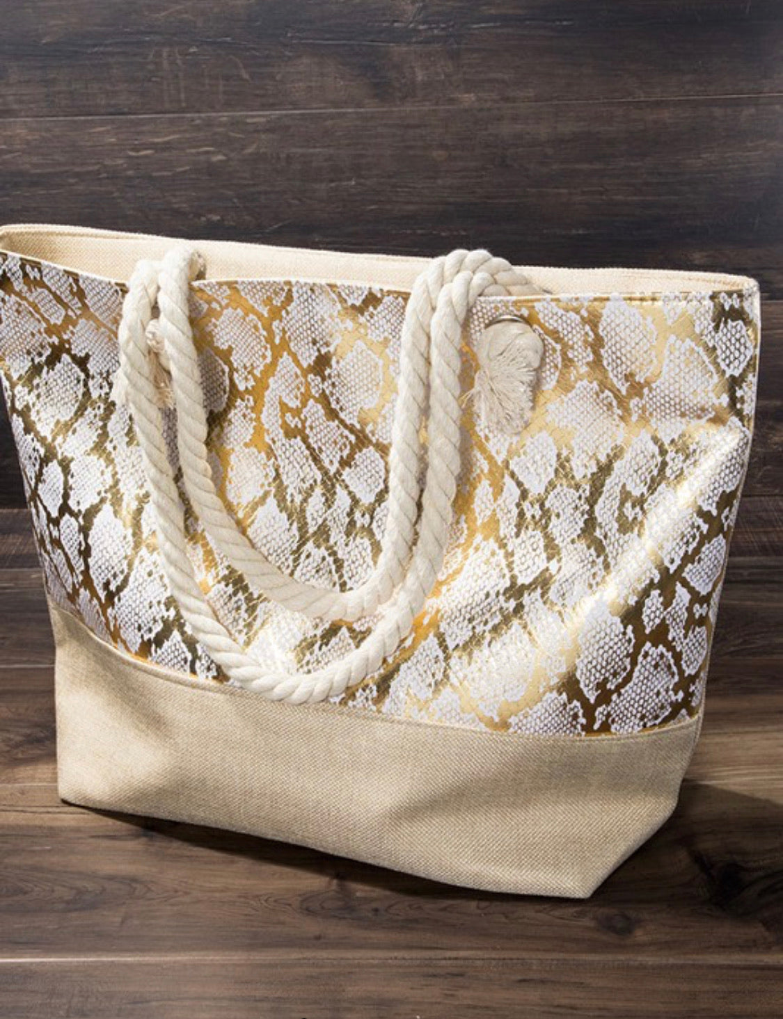 Silver Metallic Snake Print Canvas Bag