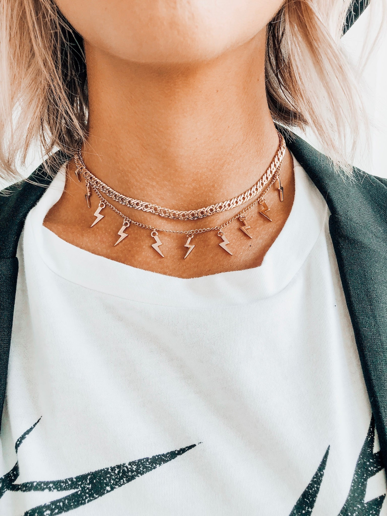 Gold 2 Layer Lightning Bolt Chain Necklace