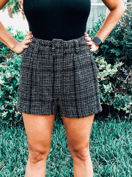 Black/Taupe Plaid Dress Shorts