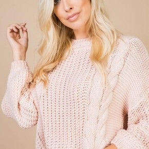Pink Cable Knit Sweater with Cut Out Back