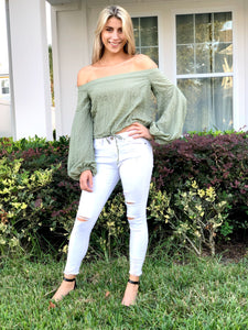 Sage Tie Off Shoulder Top