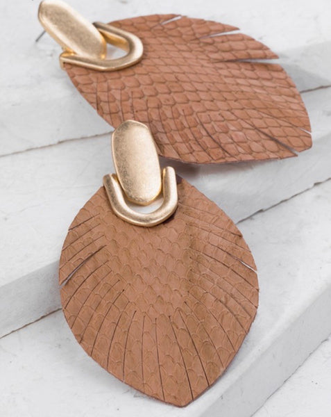 Brown Leather Feather Earrings