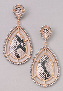 Snake Tear Drop Earrings