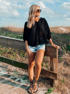 Black Beachy Blouse