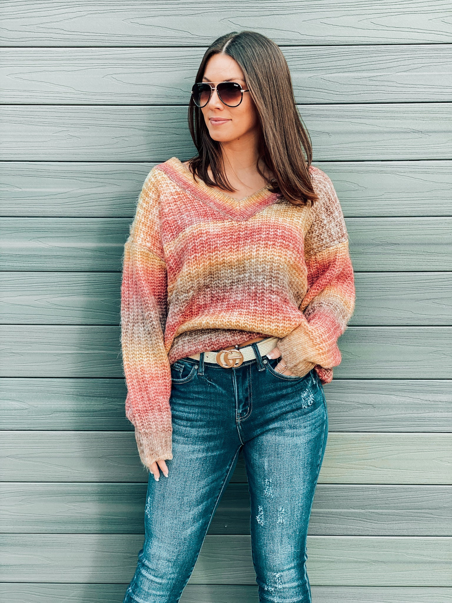 Rust Multi Color Tie Dye Sweater
