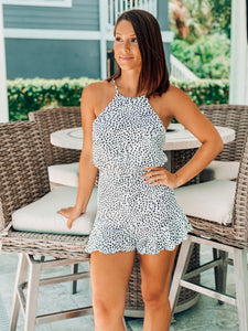White w/ Black Speckled Halter Romper