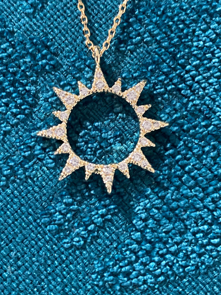 Gold Sparkle Sun Necklace