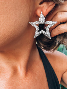 Silver Star Metal Earrings