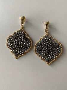 Grey Baroque Drop Earrings