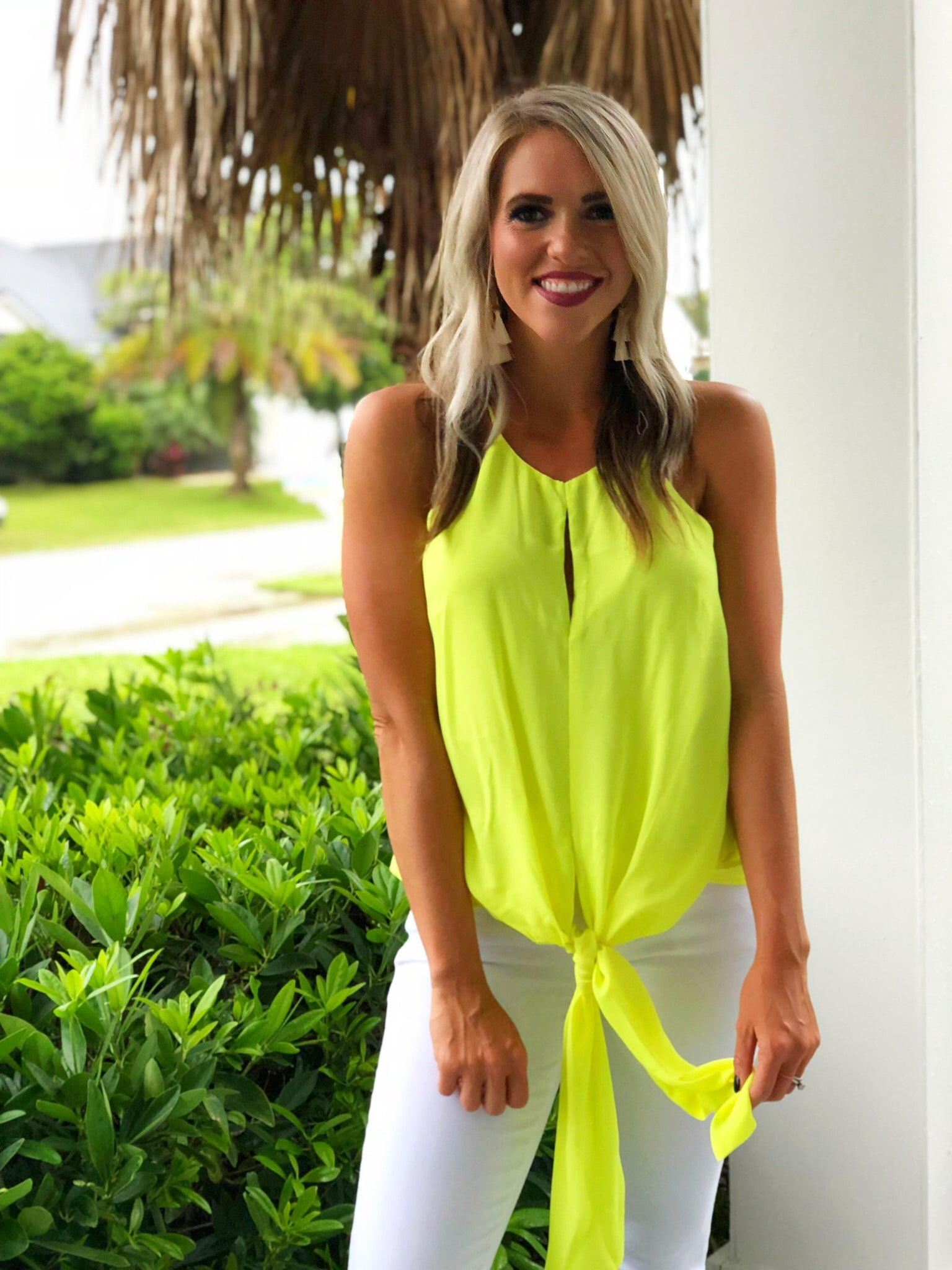 Neon lime draped front top
