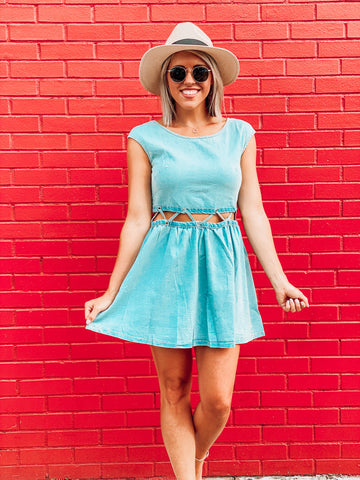 Light Denim Crochet Waist Dress