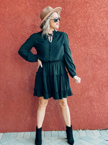 Black Longsleeve Ruffle Dress