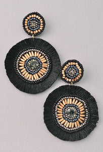Black Round Statement Earrings
