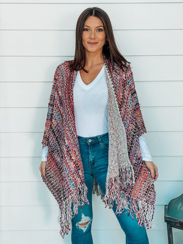 Red Multi Stripe Pancho