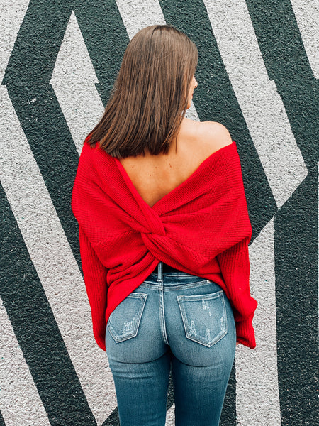 Red Twist Back Sweater