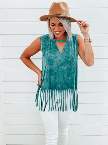 Turquoise Mineral Wash Fringe Top