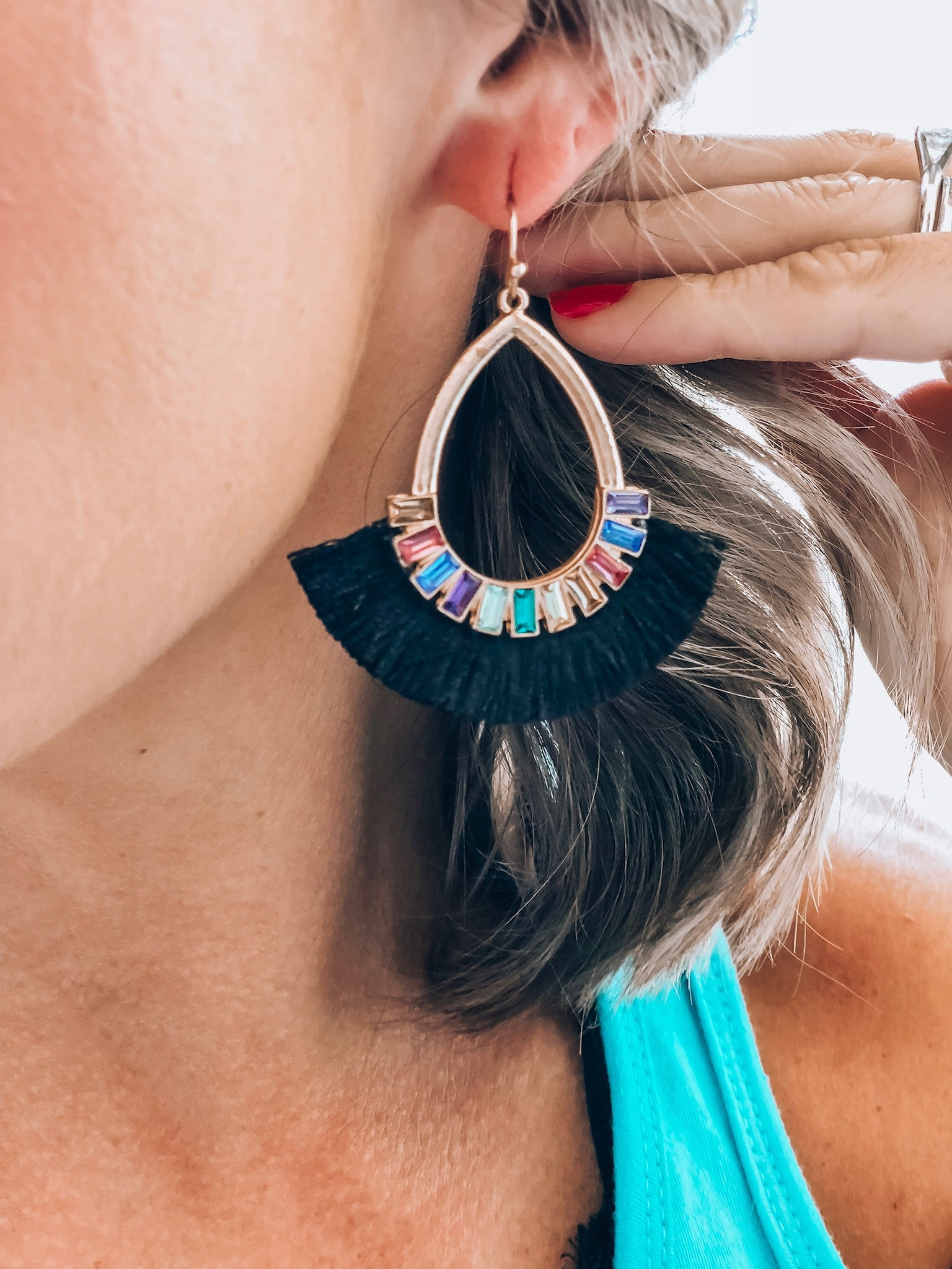Multi Color Black Fan Earrings