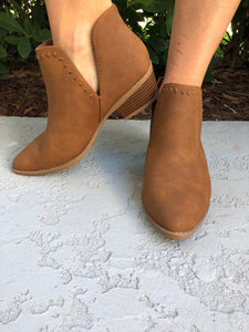 Tan V Split Booties
