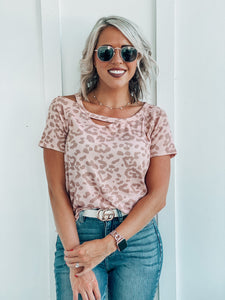 Pink Leopard Cutout Neck Top