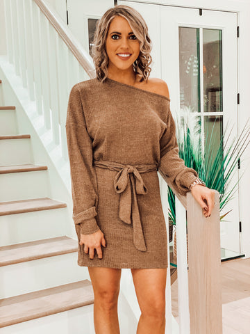 Dark Khaki Off Shoulder Knit Dress