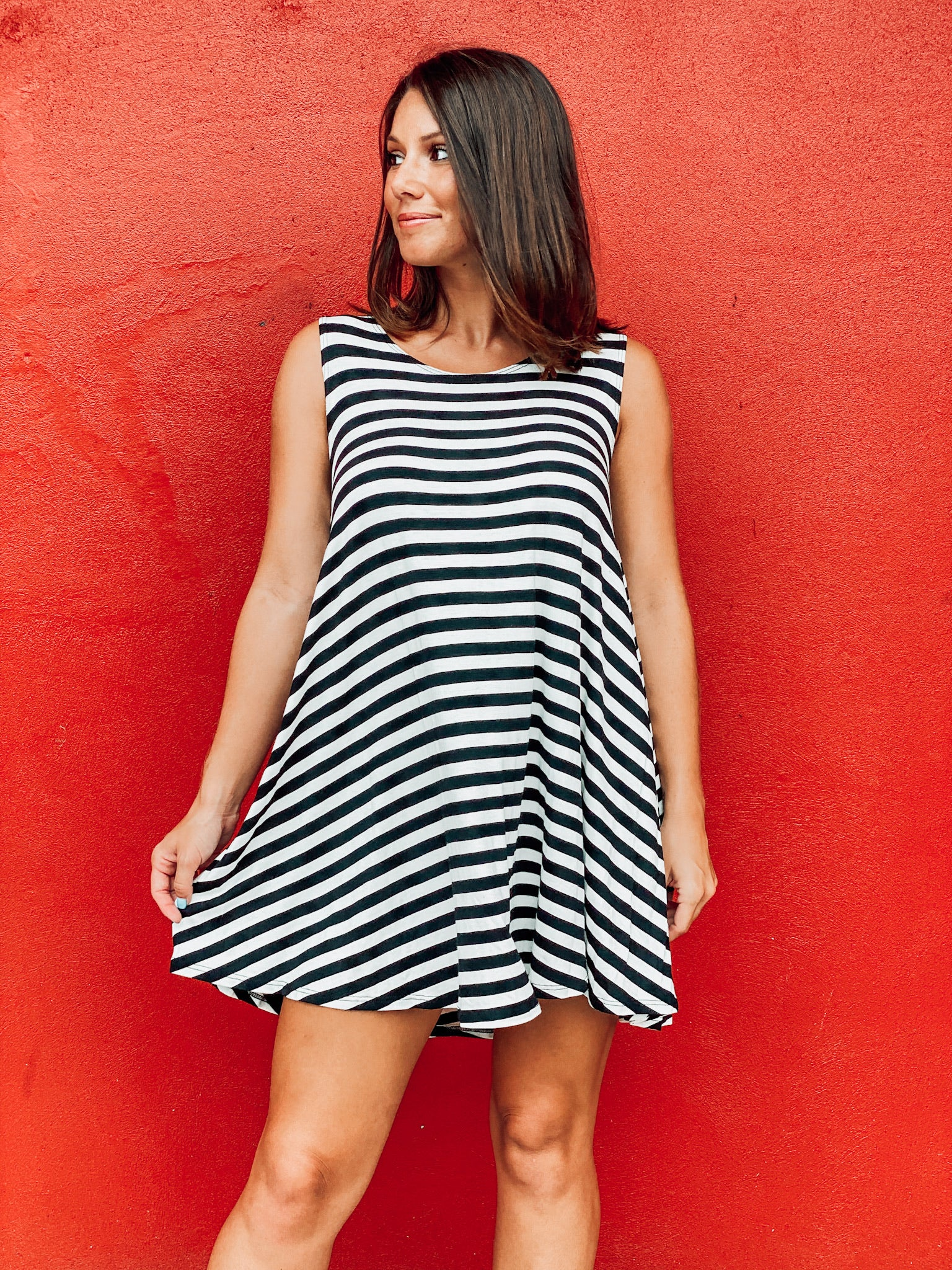 Striped Swing Tunic Dress W/ Cut Out Back