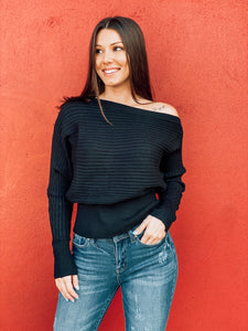 Black One Shoulder Ribbed Sweater
