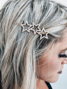 Rose Gold Triple Star Hair Clip
