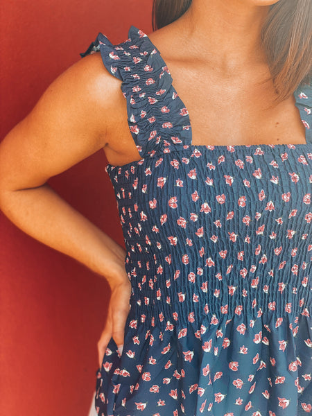 Navy Printed Smocked Sleeveless Top