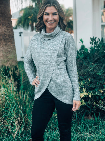 Grey Cowl Neck Over Wrap Sweater