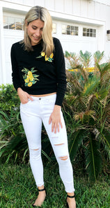 Lemon Squeeze Embroidered Sweater