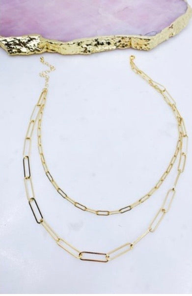 Gold Paperclip Layered necklace