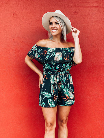 Black Off Shoulder Floral Romper