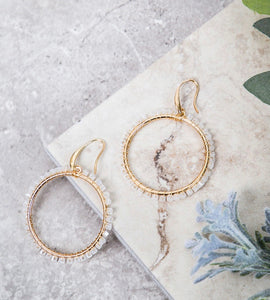 White Beaded Hoop Earrings