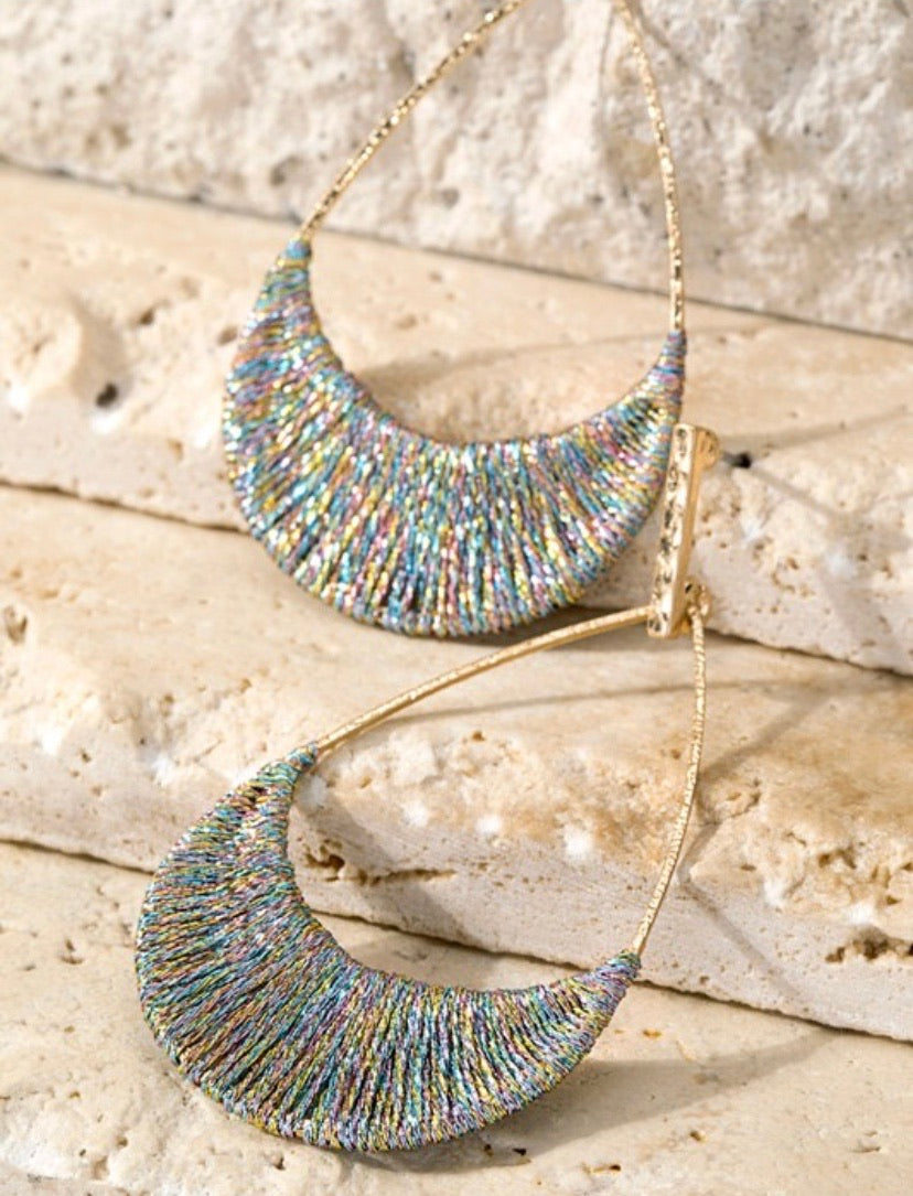 Multi Metallic Woven Thread Earrings