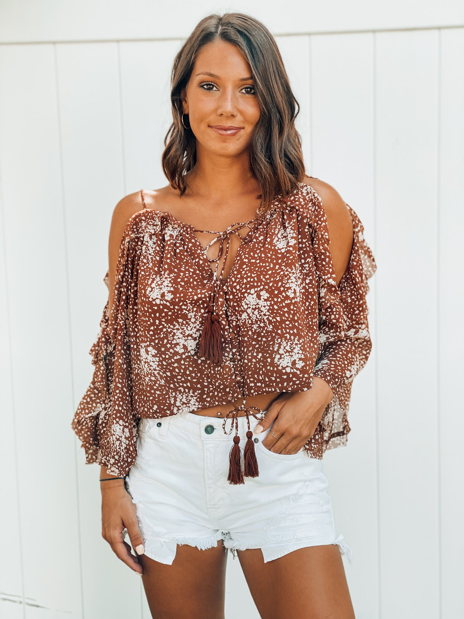 To Die For! Camel Print Off Shoulder Top