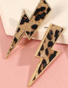 Leopard Lightning Bolt Earrings