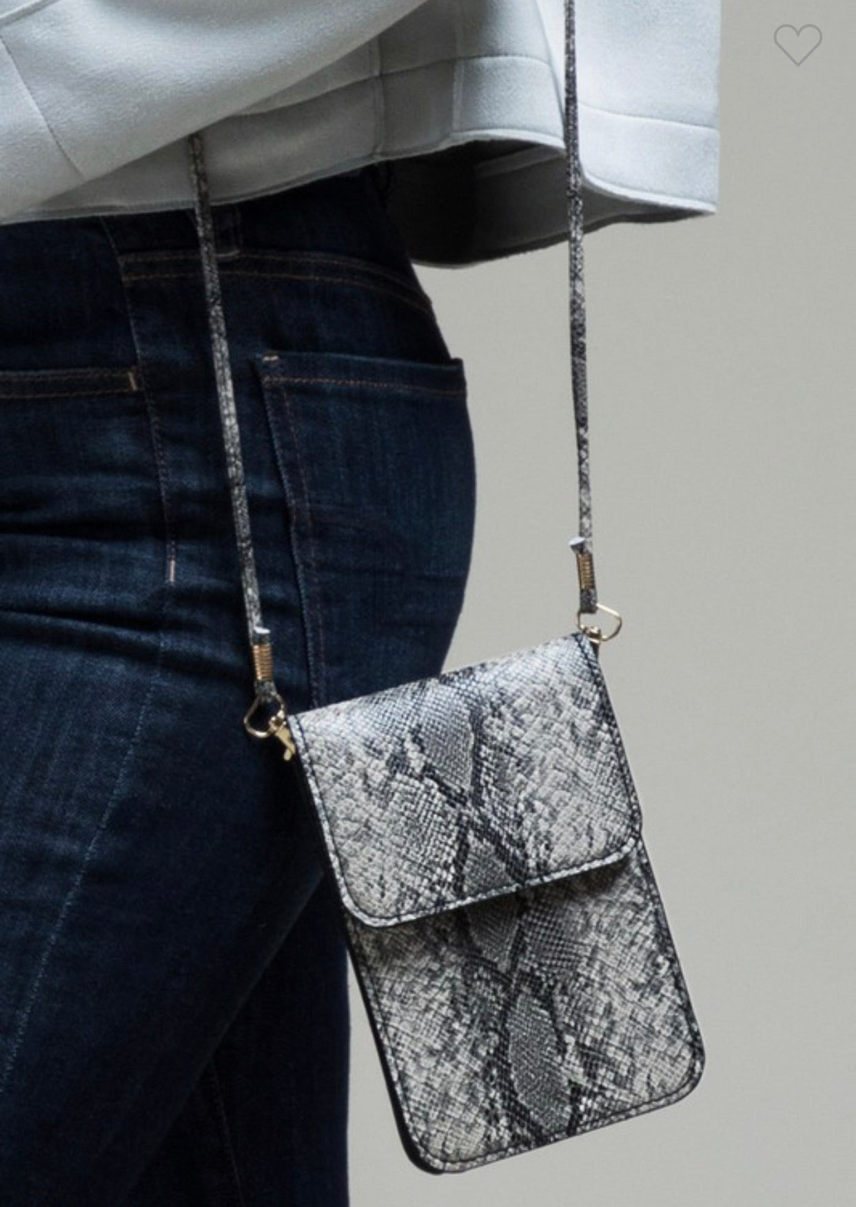 Grey Snake Cellphone Crossbody
