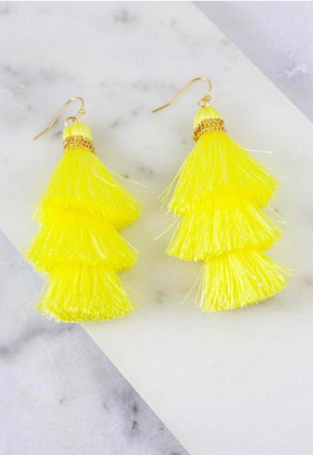 Yellow Triple Tassel Earrings