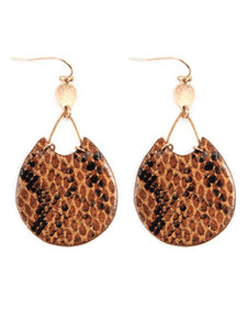 Brown Snake Leather Earrings