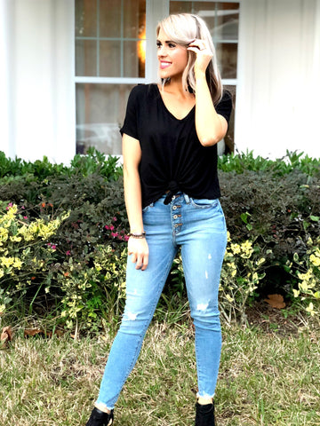 Black V Neck Tie Knot Top