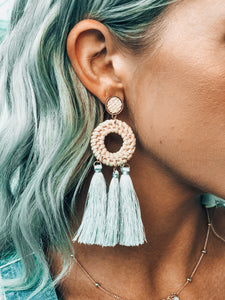 Blue/Grey Tassel Earrings