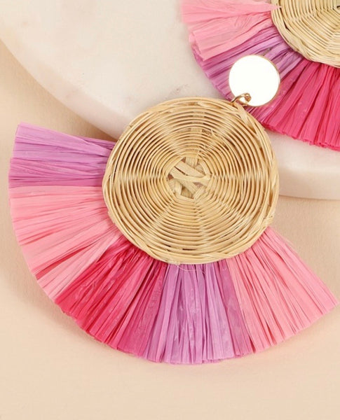 Pink Raffia Fringe Earrings