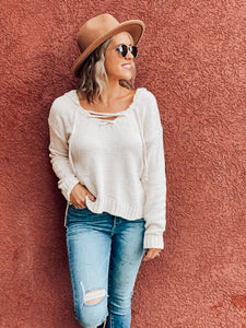 Ivory Hoodied Knit Sweater