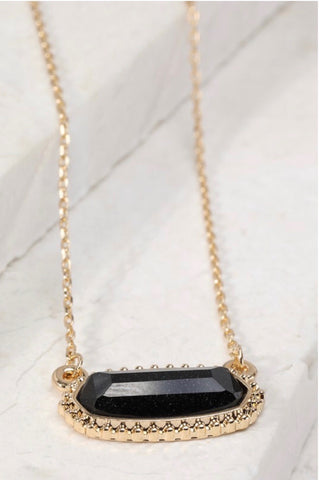 Gold Black Sparkle Oval Necklace